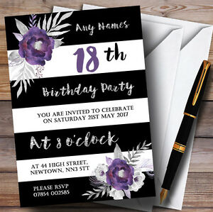 details about black white silver purple flower 18th personalised birthday party invitations