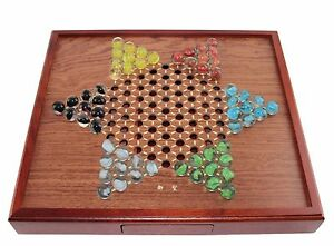 Board Games   Chinese Checkers Square Wooden Game Set Drawers and     Image is loading Board Games Chinese Checkers Square Wooden Game Set