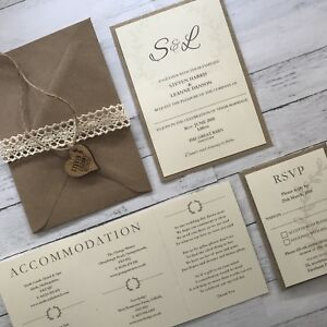Details About Rustic Wedding Invitations Stationery Personalised Wooden Heart