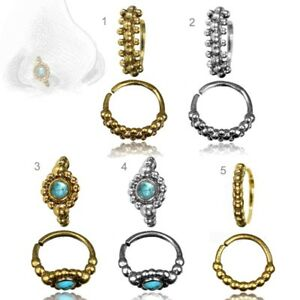 Piercing Ring Nasenring Nasenpiercing Türkis Vintage Messing oder Silber Z516