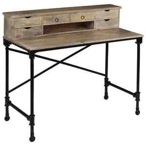 details sur vidaxl bureau bois de manguier massif et acier table d ordinateur meuble