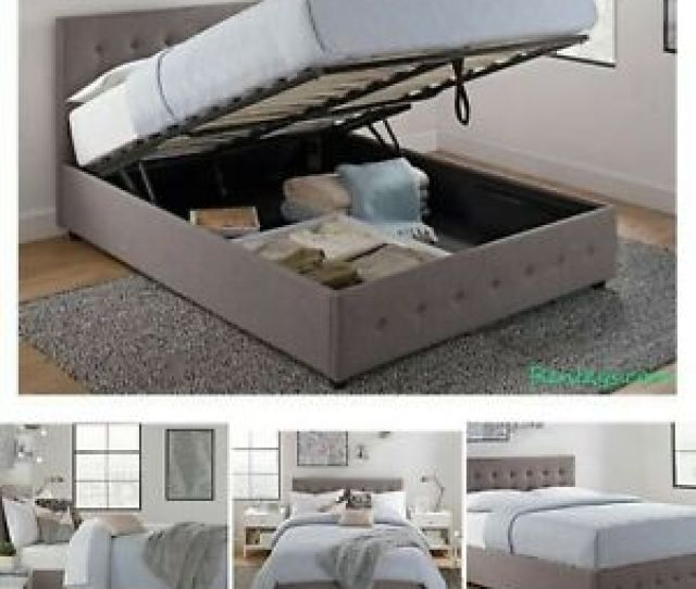 Image Is Loading Queen Size Bed Frame With Shoe Storage Tufted
