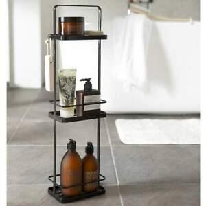 details sur yamazaki badutensilio stander tour etagere de salle de bain 3 niveaux metal noir