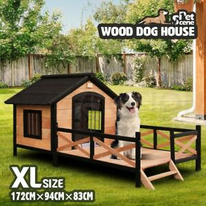 details about petscene dog kennel outdoor wooden pet house w lift up roof patio xl size