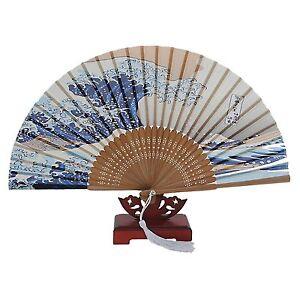 Japanese Handheld Folding Fan, with Traditional Japanese Ukiyo-e Art Prints LW