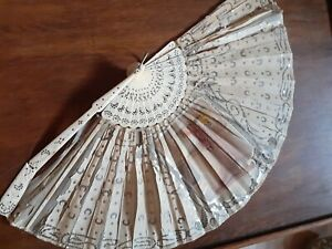 Antique Chinese Carved Bovine And Silk Fan