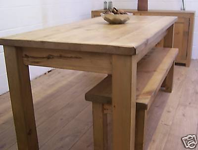 5x3 ft rustic reclaimed pine dining table 2 x 4ft benches solid wood handwaxed