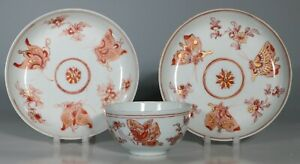 Chinese Iron Red Butterfly Tea bowl and Saucers Kangxi Yongzheng E18thC