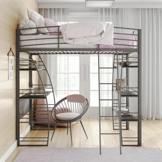 Modern Studio Gray Twin Loft Bunk Bed Frame With Under Bed Desk And Shelves For Sale Online