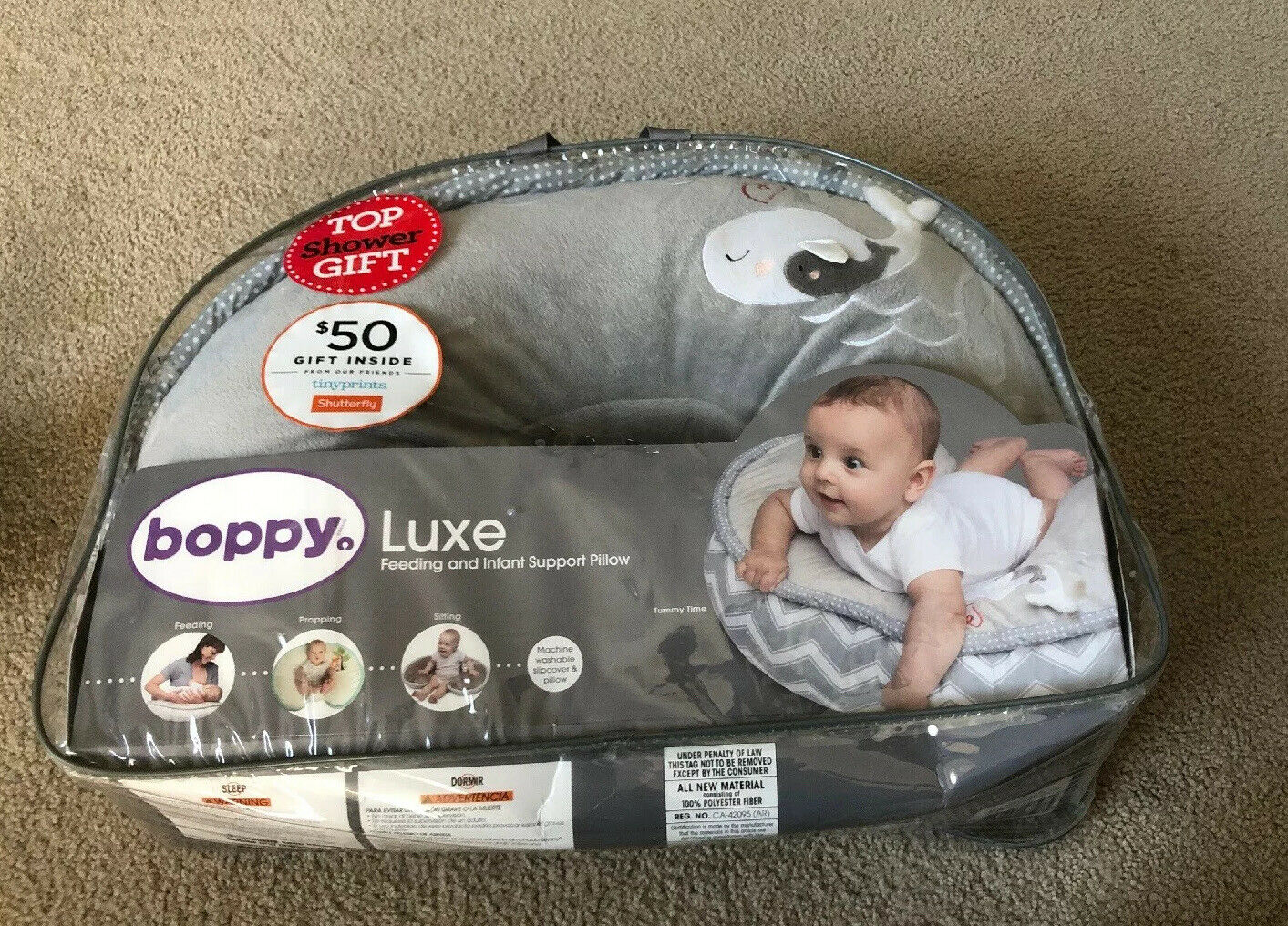 Boppy Nursing Pillow And Positioner Luxe Chevron Whales Gray For Sale Online Ebay