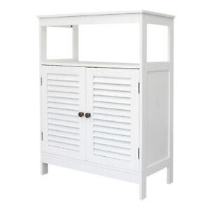 Kitchen Pantry Two Door Cupboard Mdf Storage Cabinet Organizer Shelf White Ebay