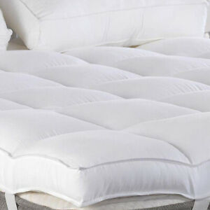 details about 3 thick matress topper plush pillow top mattress pad down alternative fiber new