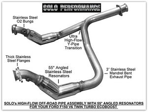 details zu solo performance high flow catless crossover ford f150 ecoboost v6 off road only