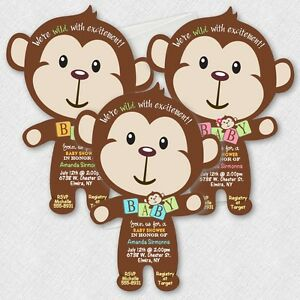 Details About Monkey Baby Shower Invitations Mod Boy Jungle Invitation
