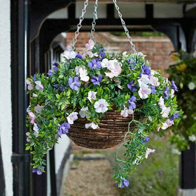 Petunia Artificial Flower Hanging Basket Indoor Outdoor ... on Decorative Wall Sconces For Flowers Hanging Baskets Delivery id=24870
