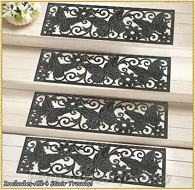Set Of 4 Rubber Stair Step Treads Mats Basketweave Design Outdoor   Exterior Rubber Stair Treads   Self Adhesive   Commercial   Standard Length 48   Carpet Stair   Non Slip
