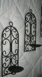 2=WROUGHT IRON WALL PILLAR CANDLE HOLDERS Antique Bronze ... on Antique Wrought Iron Wall Candle Holders id=94412
