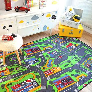 details sur tapis de jeux circuit de voitures ville 145x200 cm chambre enfant garcon fille