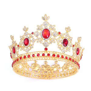Luxury 5 Colors Crystal Large King Queen Crown Wedding Prom Party Pageant Ebay