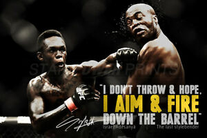 details about israel adesanya quote photo print poster pre signed 12 x 8 inch aim fire