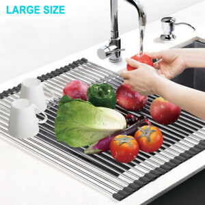 details about versatile xl large 9 11 roll up dish drying rack dishes over sink drainer mat