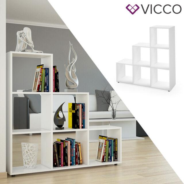 vicco etagere escalier cloison de separation 6 compartiments 105 cm blanc