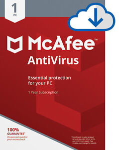 Download McAfee Antivirus PLUS 2019 1 Year WINDOWS PC Subscription Email