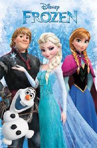 Disney Frozen Movie Elsa Anna Sven Olaf Group Poster Print 22x34 New Free Ship Ebay