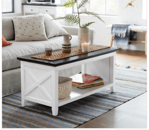 details about rustic wood coffee table distressed white farmhouse brown display accent shelf