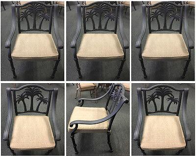 palm tree patio furniture outdoor cast aluminum chairs set of 6 desert bronze ebay