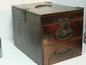 VERY OLD CHINESE ? PUZZLE BOX - VERY UNUSUAL & RARE - LIFT UP LID & DRAWERS L@@K