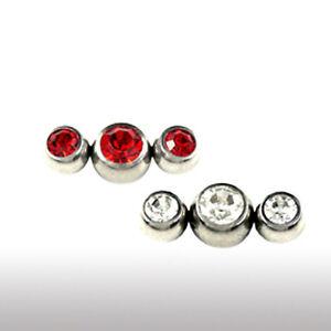 1,2mm Piercing Aufsatz 3er Kristallkugeln Ohr Helix Tragus Piercing
