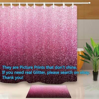 gradient pink glitter print bathroom fabric shower curtain waterproof 71x71 inch ebay