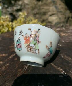 Rare chinese 18thc tea bowl with figures