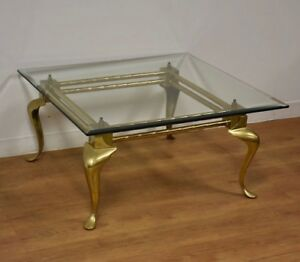 details about brass glass modern labarge square coffee table