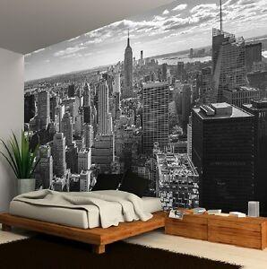 parati scure mostra carte da parati. New York City Profilo Bianco E Nero Foto Carta Da Parati Murale 335x236cm Grande Ebay