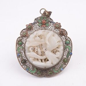 Antique Chinese Hollow Silver inlay Hetian Jade Carving Lotus and Swan Pendant