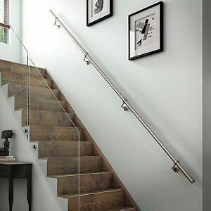 1 8Mtr Brushed Nickel Metal Wall Mounted Handrail Banister All | Brushed Nickel Stair Railing | Horizontal | Farmhouse | Matte Finish | Light Dark Wood | Hallway