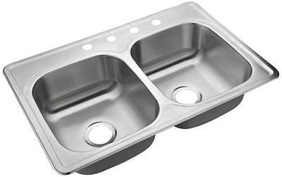double bowl kitchen sink 4 hole heavy duty satin 33 stainless steel top mount ebay