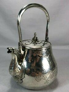 Stunning Antique Japanese Chinese Silver Dragon Tea Pot Teapot Signed Best Work!