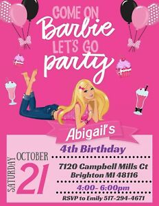 details about barbie theme party invitation personalized custom you print