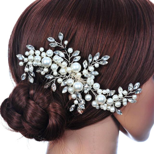 crystal fauxl pearl bridal hair comb hair clip headpiece wedding hair accessory