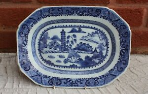 18th Century Chinese Blue and White Meat Dish Qianlong Period