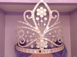 Wrought Iron PINK PRINCESS TIARA Wall Teester Jeweled ... on Wall Teester Bed Crown  id=41712