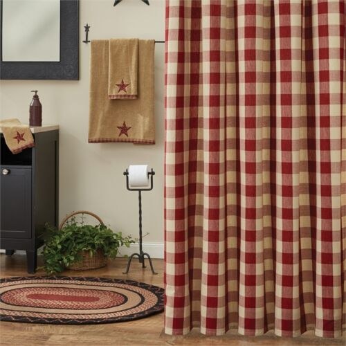 country cottage tan plaid wicklow garnet red buffalo check shower curtain