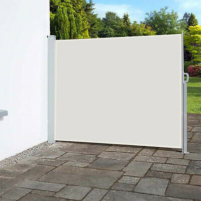 retractable side awning screen sunshade privacy windbreak shed w aluminium pole ebay