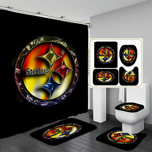 details about pittsburgh steelers bathroom non slip rugs shower curtains toilet lid cover mats