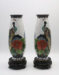 Pair of Chinese Cloisonne Vases with Peacock & Floral Decoration With Stands