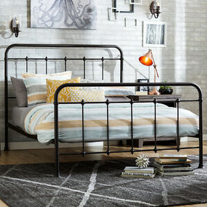 Antique Iron Bed Queen Size Rustic Farmhouse Vintage Headboard Footboard Bedroom EBay