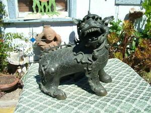 ANTIQUE 19THC. CHINESE BRONZE FOO DOG STATUE FIGURINE